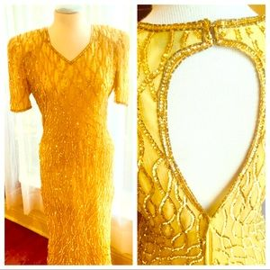 👗Rare 1980s Gold Sequined Evening Gown👗